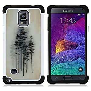 - picea trees forest art painting - - Doble capa caja de la armadura Defender FOR Samsung Galaxy Note 4 SM-N910 N910 RetroCandy