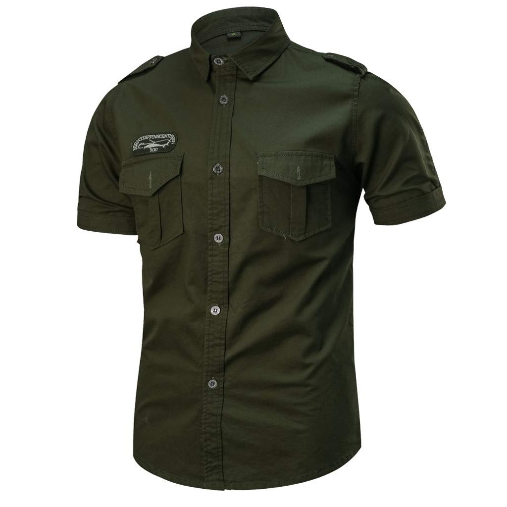 SFE Mens Solid Colors Military Short-Sleeve Shirt Tops Casual Slim Fit Button-Down Work Shirts with Pocket