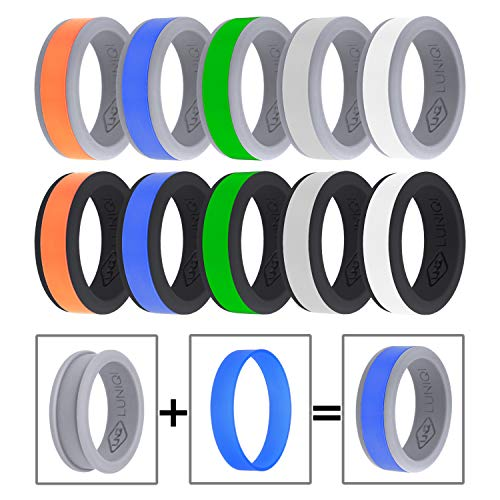 LUNIQI Silicone Wedding Ring, 10 Color Combinations, 2 Base Ring with 5 Colorful Smooth Stripes, DIY Mixed Ring, Design Style for Men, Christmas, Father's Day, Valentine's (Best Mixed Man Christmas)