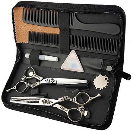 ヘアカット鋏 はさみ 6インチ美容院プロフェッショナル理髪セット、フラットせん断+歯せん断レトロハンドルはさみセット ヘアトリミングシザー (Color : Silver)
