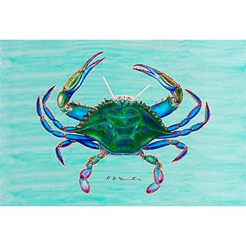 """Betsy Drake Coastal Blue Crab Door Mat, 30"""" x 50"""" from Betsy Drake"""