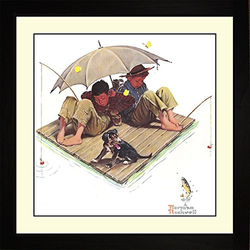 Norman Rockwell FISHERMANS PARADISE Framed Fishing Wall Hanging Art (In Fisherman Fishing Calendar)