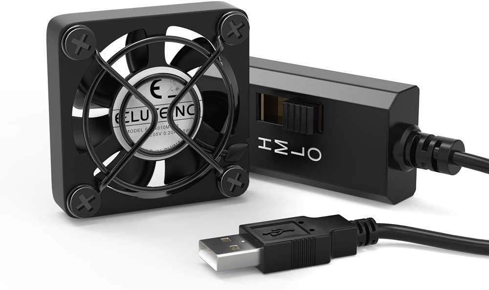 ELUTENG Mini Ventilador USB 5V 40mm del Ventilador ventilador Ajustable con 3 Velocidades Accionado USB de 5V USB DIY para VR de Cristal/del Ordenador Portátil/de la Caja de TV/PS4/Raspberry/Router