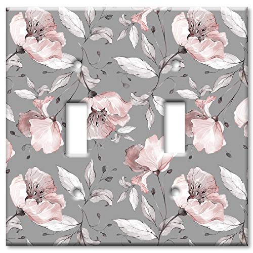 Flowers Faceplate - Art Plates 2 Gang Toggle Wall Plate - Gray and Pink Flower Toss