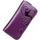 PIJUSHI Designer Floral Wallet Clutch Genuine Leather Wallet for Women Purse (91865 Violet)