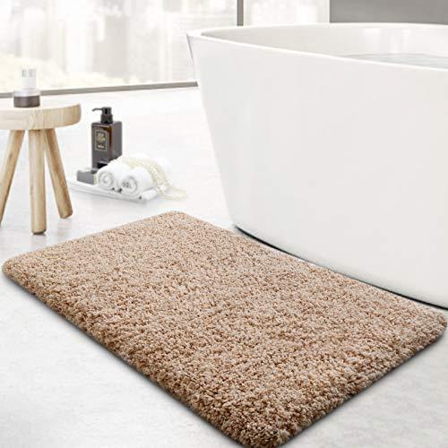 Microfiber Bathroom Rugs Bath Mat,20x32in,Khaki,Non-Slip Shower Rugs,Soft Absorbent Doormat Indoor Throw Rug for Bedroom…