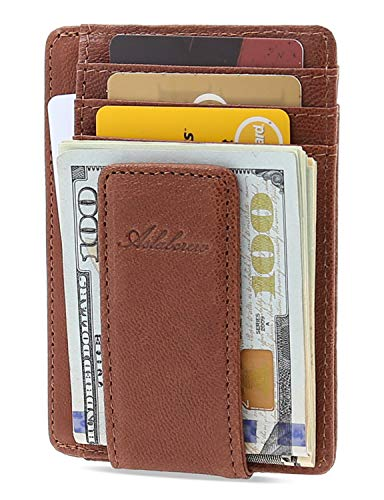 AslabCrew Minimalist Genuine Leather Magnetic Front Pocket Money Clip Wallet RFID Blocking Card Wallets, Nappa-Brown