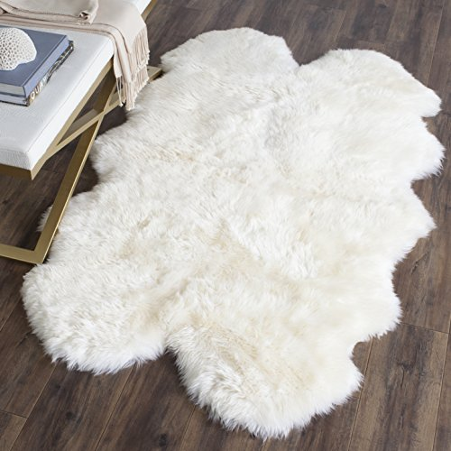 ollection SHS121A Genuine Sheepskin Pelt White Premium Shag Rug (3'7 x 5'11) (Sheep Collection)