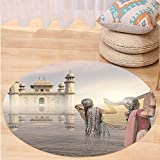 VROSELV Custom carpetAncient India Asian Women Cleaning in the River before Historical Monument Ethnic Design for Bedroom Living Room Dorm Beige Pink Round 79 inches