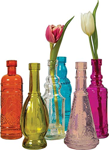 Luna Bazaar Small Vintage Glass Bottle Set (7-Inch, Cheyenne Design, Multicolor Glass, Set of 6) - Flower Bud Vases Bulk - for Home Decor and Wedding Centerpieces