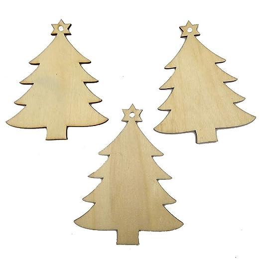 Fossrn Navidad Decoracion Arbol Madera Adornos - 10PC - Ciervo ...