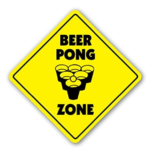 BEER PONG ZONE Sign Table Drinking Game Ping Balls - Sticker Graphic - Auto, Wall, Laptop, Cell Sticker