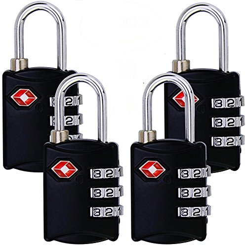 3 Digit TSA Approved Travel Lock Combination Steel Padlocks For Suitcases & Baggage (4 Pack Black)