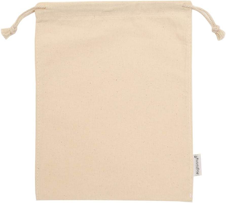 100//% coton Avec cordon de serrage M: 13cmX18cm Tissu Lot de 12 pochettes de mousseline Augbunny