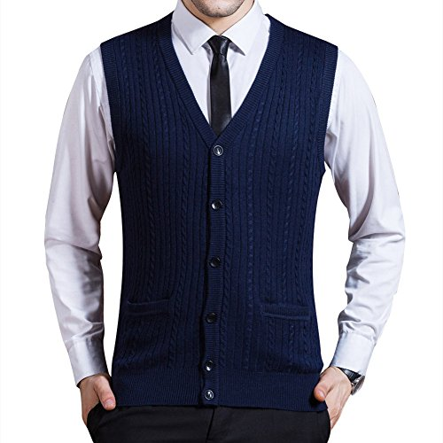 Button Front Sweater Vest (Zicac Men's Business Solid Button Knitwear Sweater Vest Sleeveless Knitted Waistcoat (XL, Blue))