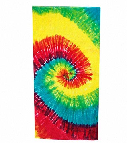 Sports Swirl Tie Dye - Rainbow Swirl Tie-Dye Velour Beach Towel
