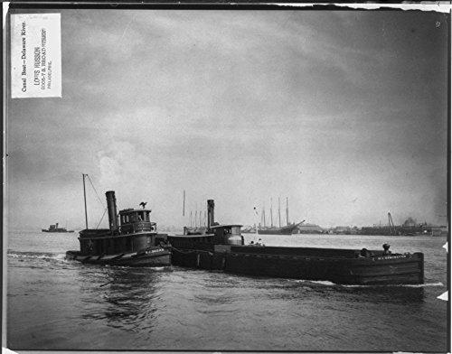 1901 Photo Canal boat - Delaware River Tug boat JOHN J. HAGAN and canal boat BLOOMINGTON in motion.