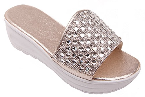 IDIFU Rhinestone Beach Fashion Gold Women's Sandals Slippers Wedge Mid Slide Platform q77EUr