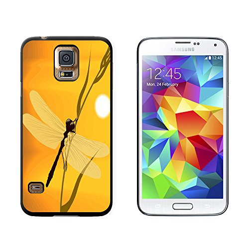 Dragonfly - Dragon Fly Yellow - Snap On Hard Protective Case for Samsung Galaxy S5 - Black