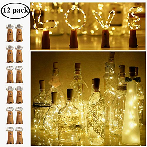 Wine Bottle Lights with Cork, LED Cork Bottle Lights Copper Wire Mini String Fairy Lights, Battery Operated Wine Lights for DIY, Wedding, Party, Christmas, Valentine's Day, Decor(Warm White,12 Pack)