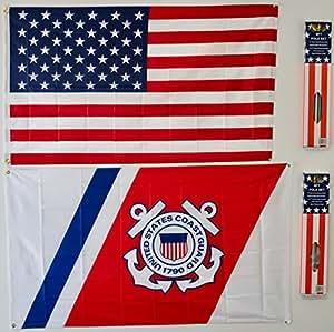 Estados Unidos y banderas de Estados Unidos Guardacostas Juego de 23x 5Super poliéster w/postes de bandera de Nylon 3'x5' casa Banner 90cm x 150cm ojales doble cosido Premium calidad interior al aire libre poste banderín