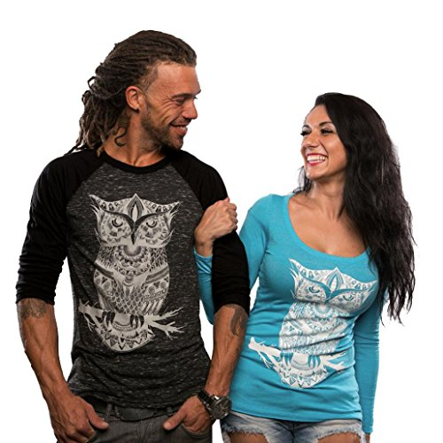 Anboo Lovers Couple Shirt Black/ Blue Top Owl Print Long Sleeve Sweatshirt Blouse (M, Man)