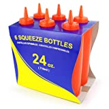 New Star Foodservice 26399 Squeeze Bottles, Plastic, 24 oz, Red, Pack of 12