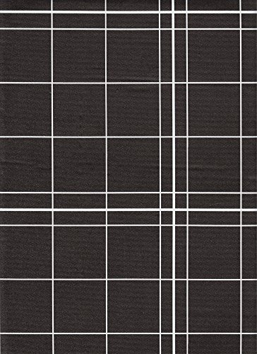White Lines Flannelback Vinyl Tablecloth in Black, 52x70 Oblong (Rectangle) -