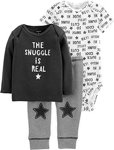 - Carters Baby Boys 3-pc. The Snuggle is Real Bodysuit Set 6 Months Black/White