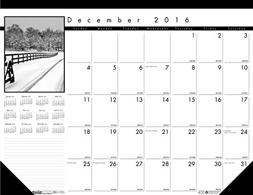 House of Doolittle 2017 Monthly Desk Pad Calendar, Black on White Series, 22 x 17