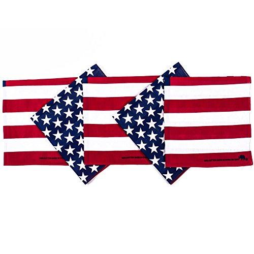 Iron Star Bbq - Original Elephant Brand Bandanas 100% Cotton Since 1898-5 Pack (American Flag)