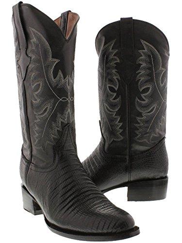 Team West - Men's Black Teju Lizard Print Leather Cowboy Boots Round Toe 12 2E ()
