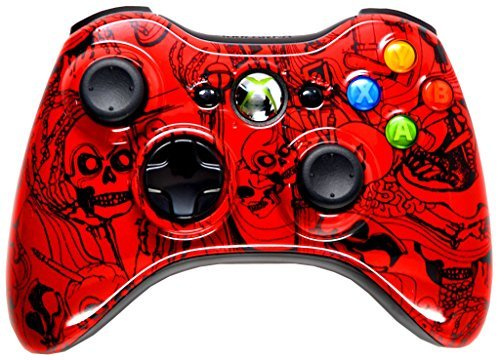RED CRAZY SKULLS 5000+ Modded Xbox 360 Controller, Works with all games Including COD Black Ops - 360 Controller Red Xbox Modded