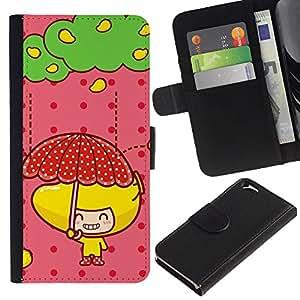 Planetar® Modelo colorido cuero carpeta tirón caso cubierta piel Holster Funda protección Para Apple (4.7 inches!!!) iPhone 6 ( Cute Fruit Girl )