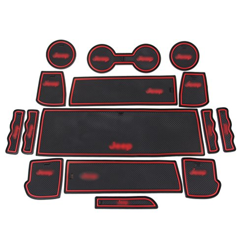 ROCCS 15PCS RED Anti-dust Interior Non-Slip Mat Door Mat Cup Pad Floor Holder Mats with Logo for 2011 2012 2012 2014 2015 Jeep Compass 2017 Patriot (Red-Logo) - Car Jeep Patriot