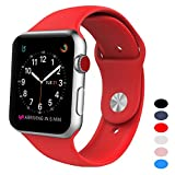 Sport Band for Apple Watch 38mm, BANDEX Soft Silicone Strap Replacement Wristbands for Apple Watch Sport Series 3 Series 2 Series 1(Red S/M)