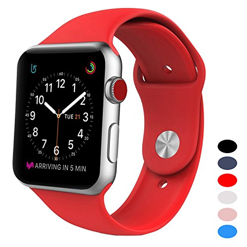 Price comparison product image BANDEX Sport Band for Apple Watch 42mm,  Soft Silicone Strap Replacement Wristbands for Apple Watch Sport Series 3 Series 2 Series 1(Red M / L)