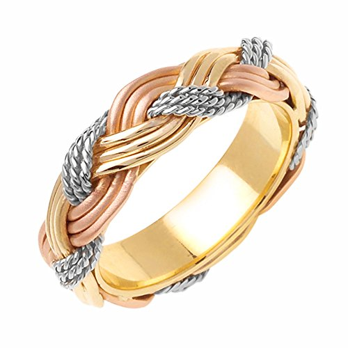 6mm 14K Tri-Color Gold Braided Rope Comfort Fit Wedding Band Available Size (5 to 14) - Size (Rope Comfort Fit Wedding Band)