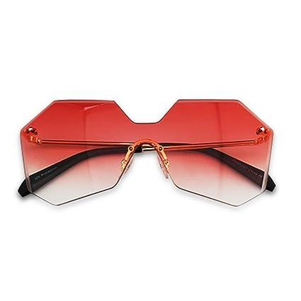 GAOJUAN Gafas De Sol Gradient Polygon Gafas De Sol Gafas De Sol Sin Bordes Protección UV