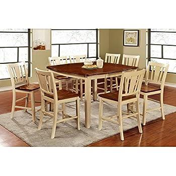 furniture of america lohman 9 piece dualtone dining table set