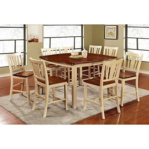 Furniture of America Lohman 9 Piece Dual-Tone Dining Table Set