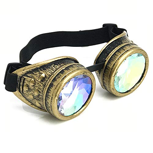 3D Rainbow Prism Kaleidoscope Rave Glasses, Steampunk Victorian Goggles in Vintage Gold, Costume Accessory -