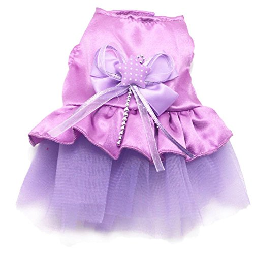 Puppy Clothes,Haoricu Dog Cat Bow Tutu Dress Lace Skirt Pet Cloth Costume (XS, Purple) (Cat Tutu)