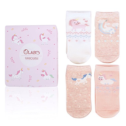 Sock Sets Novelty Baby - OLABB Baby Girls Socks Unicorn Gifts 4 Pairs Set Novelty Cotton Crew Socks for Kids Toddlers 0-3 Years (Unicorn, S 0-12 months)