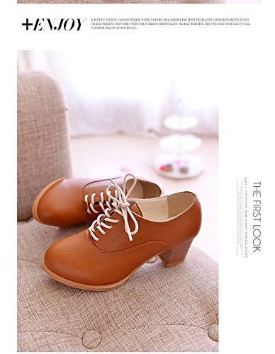 Women Ladies Retro Block Heel Lace Up Mid Chunky Heels Office Work Court Shoes Brogue Oxford Ankle Boots White 1IjKKH4Lx