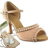 Women's Ballroom Dance Shoes Tango Wedding Salsa Dance Shoes Light Tan Velvet Sera7001EB Comfortable - Very Fine 2.5'' Heel 8 M US [Bundle of 5]