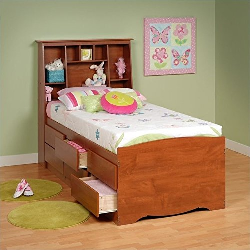 Prepac Monterey Twin Tall Bookcase High-Platform Storage Bed in (Furniture Monterey Twin Platform)