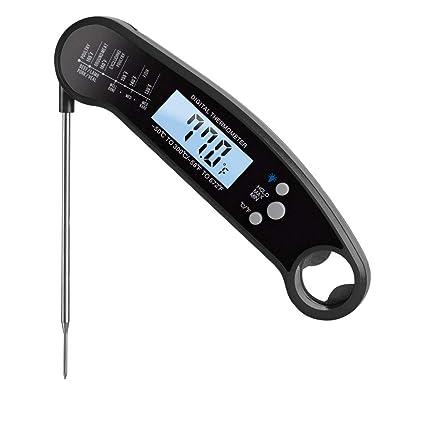 Termómetro digital para carne, LONJY Termómetro de lectura instantánea Termómetro de cocina y abrebotellas Termómetro