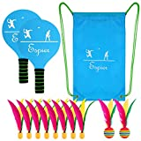 Hisoo Paddle Ball Set Upgrade Paddle Beach Tennis Racket Game Ball With Carry Bag Great Fun For All Ages(10 balls)