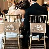 Stuhl Banner Set Hochzeit Dekoration durch lintimes 1Set von 2Jute Bögen Mr. & Mrs Jute Stuhl Schild Girlande Rustikal Party Dekoration
